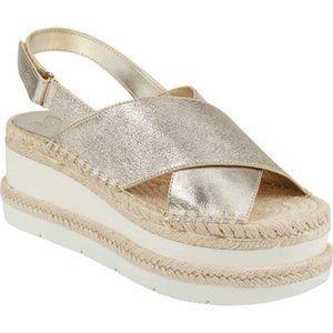 Marc Fisher Gandy  Metallic Leather Wedge Sandals